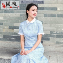 Dress Summer 2021 Blue check Mid length dress singleton  Short sleeve commute other High waist lattice zipper Big swing other Others 25-29 years old Type A Obstinate / obstinate Retro 71% (inclusive) - 80% (inclusive) polyester fiber