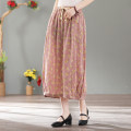 skirt Summer 2021 Average size Pink, brown Mid length dress Retro Natural waist A-line skirt Decor Type A 35-39 years old eight thousand eight hundred and seven - six 51% (inclusive) - 70% (inclusive) other hemp Stitching, printing
