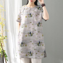 Dress Spring 2020 monochrome Average size Mid length dress singleton  Short sleeve commute Crew neck middle-waisted Broken flowers Single breasted A-line skirt 30-34 years old Type A Retro 51% (inclusive) - 70% (inclusive) hemp