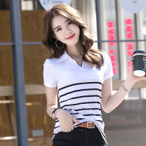 T-shirt White black M L XL XXL XXXL XXXXL Summer 2021 Short sleeve Polo collar Self cultivation Regular routine commute cotton 86% (inclusive) -95% (inclusive) 30-39 years old Korean version classic Thick horizontal stripe fine horizontal stripe Cotton 92% polyurethane elastic fiber (spandex) 8%
