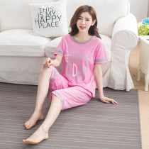 Pajamas / housewear set female Other / other M [recommended 80-100 kg] l [recommended 100-120 kg] XL [recommended 120-140 kg] XXL [recommended 140-160 kg] XXXL [recommended 160-180] XXXXL [recommended 180-200 kg] cotton Short sleeve Sweet Leisure home summer Thin money Crew neck letter Socket youth