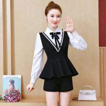 Professional pants suit black S,M,L,XL,XXL Autumn 2020 shirt Long sleeves 71% (inclusive) - 80% (inclusive) polyester fiber