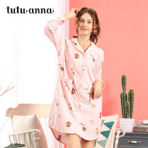 Nightdress tutuanna 871904-09 871904-22 871904-44 160/84A Sweet Long sleeves Leisure home Middle-skirt autumn other youth Small lapel cotton More than 95% pure cotton Autumn of 2018 Cotton 100% Same model in shopping mall (sold online and offline)