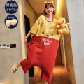 Nightdress Other / other Sweet Short sleeve longuette Leisure home summer Cartoon animation youth Crew neck cotton printing More than 95% pure cotton 11604 280g AM11604,AM11605,AM11606,AM11607