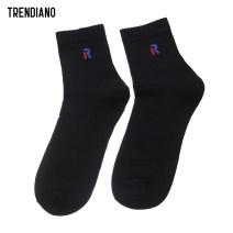 Socks / base socks / silk socks / leg socks male Trendiano Average size Black 090 000 1 pair routine Simplicity letter cotton keep warm jacquard weave 3GA1568020 Spring of 2018 Cotton 73% polyamide fiber (nylon) 17% polyester 9% polyurethane elastic fiber (spandex) 1%
