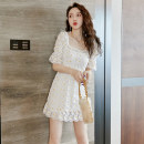 Dress Summer 2020 white S,M,L,XL Short skirt singleton  Short sleeve commute square neck High waist Broken flowers Socket A-line skirt routine Others 18-24 years old Type A Korean version Embroidery CS5.5 31% (inclusive) - 50% (inclusive) polyester fiber