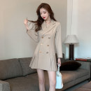Dress Autumn 2020 Khaki, black S,M,L,XL Short skirt singleton  Long sleeves commute tailored collar High waist Solid color double-breasted Pleated skirt routine Others 18-24 years old Type A Korean version Button, fold CS9 . twenty-one