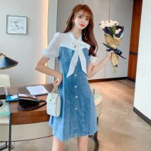 Dress Summer 2021 Denim blue S,M,L,XL Short skirt Fake two pieces Short sleeve commute other High waist other A-line skirt puff sleeve Others 18-24 years old Type A Other / other Korean version bow other other
