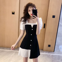 Dress Summer 2021 black S,M,L,XL,2XL Short skirt singleton  Short sleeve commute square neck High waist A-line skirt puff sleeve Others 18-24 years old Type A Korean version w3.4 51% (inclusive) - 70% (inclusive) other nylon