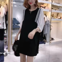 Dress Summer 2021 black S,M,L,XL,2XL,3XL,4XL Mid length dress Fake two pieces elbow sleeve commute Crew neck Socket One pace skirt puff sleeve Others Type H More than 95% other