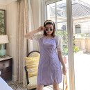 Dress Summer 2020 Purple short sleeves, black and white check short sleeves 40. L (bust 92), 4x, 2x, 3x Short skirt singleton  Long sleeves commute One word collar High waist lattice other puff sleeve Others 18-24 years old Korean version