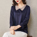 Women's large Spring 2021 dark blue Large XL [125-140 Jin recommended] large 2XL [135-150 Jin recommended] large 3XL [150-165 Jin recommended] large 4XL [165-180 Jin recommended] large 5XL [175-200 Jin recommended] T-shirt singleton  commute Straight cylinder moderate Socket three quarter sleeve