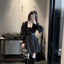 Dress Autumn 2020 black S spot, m spot, l spot Short skirt Long sleeves street square neck High waist Solid color zipper other routine Others Splicing, three-dimensional decoration 71% (inclusive) - 80% (inclusive) other polyester fiber Europe and America