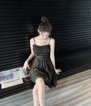 Dress Summer 2020 Black gold S spot, m spot, l spot Short skirt singleton  Sleeveless street V-neck High waist other zipper Pleated skirt other camisole Type A Panel, zipper More than 95% other polyester fiber Europe and America