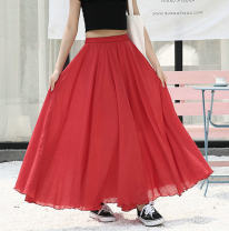 skirt Spring of 2019 White, black, red longuette Versatile High waist High waist skirt Solid color Type A 81% (inclusive) - 90% (inclusive) brocade Lace girl cotton Gauze