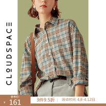 shirt Contrast check S M L XL Autumn of 2019 polyester fiber 96% and above Long sleeves commute Regular square neck Single row multi button routine lattice 25-29 years old Straight cylinder cloudspace literature 93C4031 Polyester fiber 98.1% polyurethane elastic fiber (spandex) 1.9%