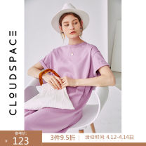 Dress Summer of 2019 Peach  S M L XL Mid length dress singleton  Short sleeve commute Crew neck Loose waist Solid color Socket Big swing routine 25-29 years old Type H cloudspace literature 92L3418 More than 95% cotton Cotton 96.7% polyurethane elastic fiber (spandex) 3.3%