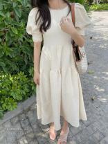 Dress Spring 2021 White, apricot, black S, M Mid length dress singleton  Short sleeve commute Crew neck 18-24 years old Korean version