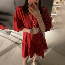 Dress Summer 2021 Red, black S (80-100kg), m (101-115kg), l (116-125kg), XL (126-145kg), [free freight insurance for today's order] Short skirt singleton  elbow sleeve commute Crew neck Loose waist Solid color Ruffle Skirt routine Type H Nabi Xiaoxin Korean version Lotus leaf edge