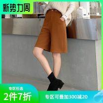 Casual pants Caramel S,M,L Spring 2021 Pant Straight pants High waist commute routine Hstyle / handu clothing house Korean version Button