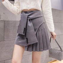 skirt Summer 2020 S,M,L,XL White, apricot, grey, black Short skirt commute High waist Pleated skirt Solid color Type A other Fold, lace up, asymmetry, button, stitching Korean version