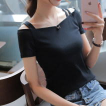 T-shirt White, black S,M,L,XL,2XL Summer of 2019 Short sleeve One word collar Self cultivation Regular routine Sweet cotton 86% (inclusive) -95% (inclusive) 18-24 years old youth Solid color Other / other college