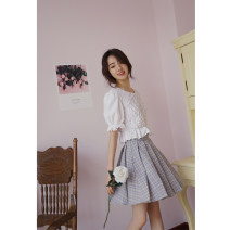 skirt Spring of 2019 XS,S,M,L grey Short skirt Sweet High waist Pleated skirt lattice Type A 18-24 years old 30% and below other polyester fiber college