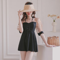 one piece  heyswim M,L,XL black Skirt one piece With chest pad without steel support female Middle sleeve Casual swimsuit