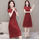 Dress Summer 2021 Black, red L,XL,2XL,3XL,4XL,5XL Mid length dress singleton  Short sleeve commute High waist Decor Socket A-line skirt routine Others 35-39 years old Type A Korean version printing HSLX-220A25 More than 95% other