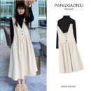 Women's large Autumn 2020 Apricot with black sweater , Apricot color with white sweater , Single meter apricot back skirt Large L, large XL, large XXL, M Dress singleton  commute easy moderate Socket Long sleeves Solid color Korean version Crew neck Medium length polyester Three dimensional cutting