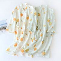 Nightgown / bathrobe Other / other female M, l White sunshine sweet orange, pink sunshine sweet orange, green sunshine sweet orange, pink cartoon lemon, white cartoon lemon, blue cartoon lemon Thin money Simplicity cotton spring More than 95% Super short (above Mid Thigh) Plants and flowers youth