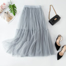 skirt Autumn 2020 Average size Mid length dress commute High waist Pleated skirt Solid color Type A More than 95% other other Korean version