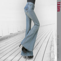 Jeans Spring 2017 34 25 26 27 28 29 30 31 32 33 Light blue Dark blue trousers Natural waist Wide leg pants conventional 25-29 years old Cotton denim Make old wrinkles, wash and polish, white zipper buttons, Multi Pocket metal decoration, others. Dark