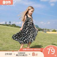 Dress black female Xiaodingyou 120cm 130cm 140cm 150cm 160cm Polyester 100% summer lady Skirt / vest Broken flowers Chiffon A-line skirt XD0F23330 Class B Summer 2020 Chinese Mainland Zhejiang Province Huzhou City