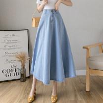 skirt Spring 2021 S,M,L,XL,2XL Dark blue, light blue longuette commute High waist Denim skirt Solid color Type A 18-24 years old Denim cotton Pocket, button Korean version