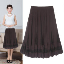 skirt Summer 2017 Average size Black, coffee, khaki Middle-skirt Versatile Natural waist A-line skirt Solid color Type A 51% (inclusive) - 70% (inclusive) other Jasper rose polyester fiber