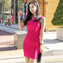 Dress Summer 2021 White, black, rose red, this white, temperament black, Meili rose red XS,S,M,L,XL,2XL,3XL Short skirt singleton  Sleeveless commute One word collar High waist Solid color zipper One pace skirt routine 25-29 years old Type O Ol style Open back, zipper hemp