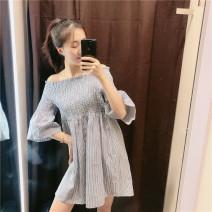 Dress Summer of 2019 wathet XS,S,M,L singleton  51% (inclusive) - 70% (inclusive) other