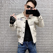 leather clothing Others Youth fashion Off white, black M,L,XL,2XL,3XL routine Imitation leather clothes Lapel Slim fit Single breasted autumn leisure time teenagers tide Cloth hem