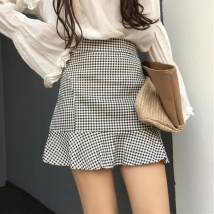 skirt Summer of 2018 S M L Black and white Short skirt Sweet High waist A-line skirt Dot Type A 18-24 years old Guozi test article No. - 002 cotton