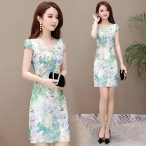 Dress Summer 2020 Green blue M L XL 2XL 3XL 4XL Mid length dress singleton  Short sleeve commute Crew neck middle-waisted Decor Socket One pace skirt routine Others 40-49 years old Type H Osaya Korean version printing OSYWLYHR1269 More than 95% polyester fiber Other polyester 95% 5%
