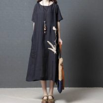 Dress Summer 2020 Green, black M [within 120 kg recommended], l [120-135 kg recommended], XL [135-150 kg recommended], 2XL [150-165 kg recommended] Miniskirt Short sleeve commute Crew neck 25-29 years old 31% (inclusive) - 50% (inclusive) cotton