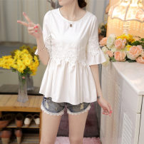 shirt white S,M,L,XL,2XL Spring 2021 cotton 51% (inclusive) - 70% (inclusive) Short sleeve commute Regular Crew neck Socket pagoda sleeve Solid color 18-24 years old Self cultivation Other / other Korean version X550