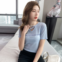 Women's large Summer 2021 Blue spot, blue pre-sale (delivery within 10 days after payment) black spot, black pre-sale (delivery within 10 days after payment) L (110-130) Jin XL (131-145) Jin 2XL (146-155) Jin 3XL (156-170) Jin 4XL (171-185) Jin 5XL (186-200) Jin T-shirt singleton  street easy Socket