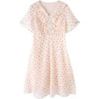 Women's large Summer 2021 Apricot spot apricot pre-sale (delivery within 15 days after payment) XL (185-250kg) 250kg (250kg) Dress singleton  street easy moderate Socket Short sleeve Broken flowers polyester Three dimensional cutting 5412871169-2 Extravagant posture 25-29 years old zipper other