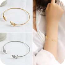 Bracelet Alloy / silver / gold RMB 1.00-9.99 Other / other 1 ᦇ gold leaf Bracelet 2 ᦇ silver leaf Bracelet brand new Europe and America goods in stock lovers Fresh out of the oven Not inlaid Plants and flowers OB0207