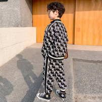 suit Baby & HH / baby Hengheng Black white black (fabric upgrade) 100cm 110cm 120cm 130cm 140cm 150cm 160cm male spring and autumn Korean version Long sleeve + pants 2 pieces routine There are models in the real shooting Zipper shirt nothing letter other children Expression of love K211TZ025-1