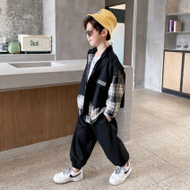 suit Baby & HH / baby Hengheng black 100cm 110cm 120cm 130cm 140cm 150cm 160cm male spring and autumn Korean version Long sleeve + pants 2 pieces routine There are models in the real shooting Zipper shirt nothing lattice other children Expression of love K211TZ094 Class B Other 100% Spring 2021