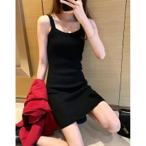 Dress Spring 2021 Black, blue, coffee Average size Mid length dress singleton  Sleeveless commute Crew neck Loose waist One pace skirt straps 25-29 years old Type A Other / other Korean version Z2485 81% (inclusive) - 90% (inclusive) knitting