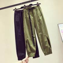 Casual pants Black, army green S. M, l, XL, 2XL, wholesale price from 500 pieces 28 [contact customer service] Summer 2021 Ninth pants Haren pants High waist commute routine 25-29 years old 31% (inclusive) - 50% (inclusive) Other / other other Korean version belt
